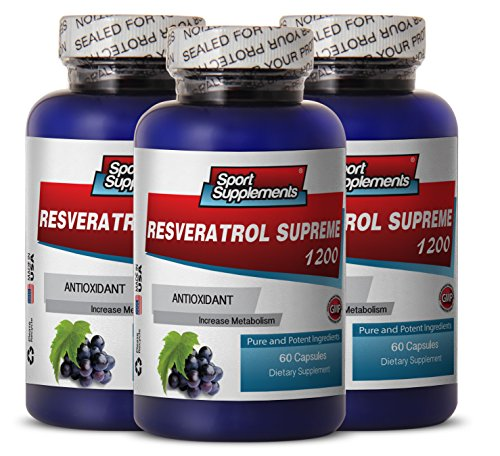 Resveratrol Supreme 1200mg Maximum Strength - Red Wine Pills (3 Bottles, 180 Capsules)