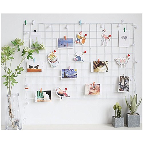 ShouYu DIY Rejilla Foto Pared,Pared Parrilla,Ins cuadrícula Panel, multifunción Estantería Grid Wall,Decoración Pared,Tablero Memo (65 * 45cm,Blanco)