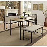 4D Concepts Tool Less Boltzero Corner Nook Dining Table, Washed Walnut