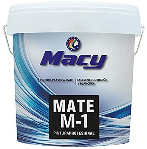 Macy Pintura Plástica Mate M-1 Antimoho para Interior y Exterior con Conservante Antimoho. 14 Litros. Color Blanco