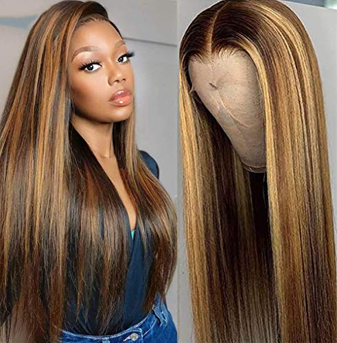 West Kiss Ombre Highlight Straight Lace Front Wigs Human Hair, 4/27 Colored 150% Density Straight Brazilian Hair 4x4 Lace Closure Wig Pre Plucked With Baby Hair For Black Women 22 inch