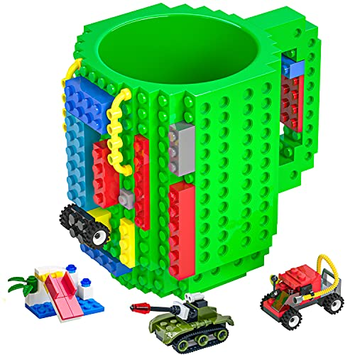DAYMOO Build-On Brick Mug,Funny Coffee Mug Compatible with Lego,with 3 Packs of Blocks at Random,Building Blocks Cup for Kids,Unique Gifts Idea for Christmas(Green)