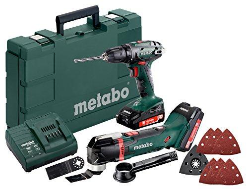 Metabo 685081000 Combo Set 18 V Bohrschrauber BS Akku-Multitool MT 18 LTX, grün grau schwarz rot