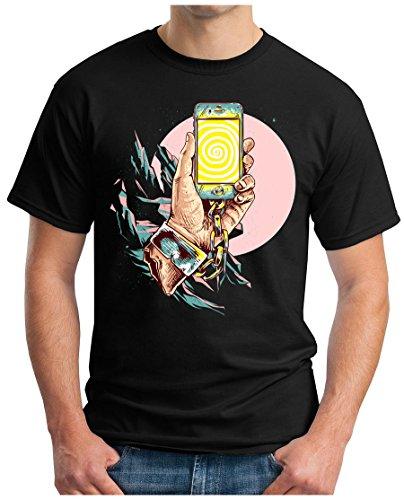 OM3 - Smartphone-Addiction - T-Shirt Mobile Handy SELFI Stick CAGE Hashtag Addicted Emo Selfie, 5XL, Schwarz