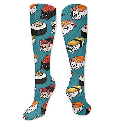 Sushi Frenchie Socks Novelty Compression Socks Crew Socks for Athletic Running Stocking Men Women