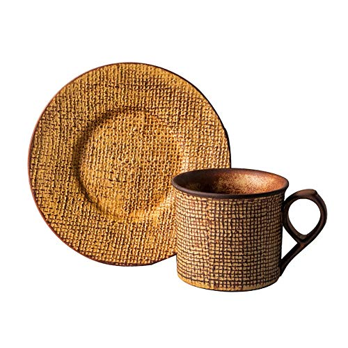 SXXYTCWL Taza de café Copa de té hecho a mano de gres con el hogar Concentrado Latte Taza de café y platillo Conjunto de la oficina Leche resistente al calor Taza de café Accesorios de la máquina de c