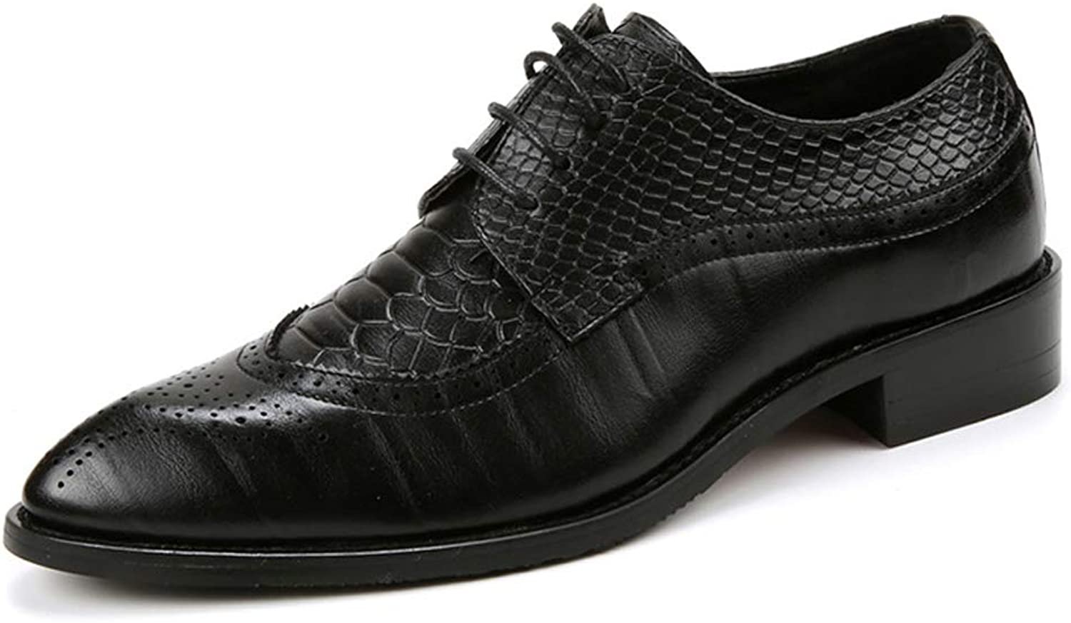 Mens Business Derby Pointed Toe Lace up Leather Rubber Sole Wedding Fashionable Uniform Vintage Office Brogue Black Brown Wine red