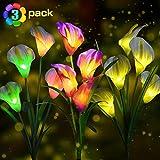idefair 3 confezioni luci solari da giardino all'aperto, luci di palo a led cambio multicolore con un totale di 12 fiori di giglio di calla per la decorazione dell'iarda del giardino del prato inglese