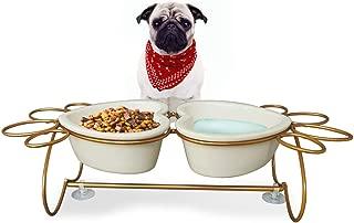 PETAFLOP Cat Feeding Bowls Small Dog Bowls Set Ceramic Water Bowl for Cats Dog Bowl Elevated