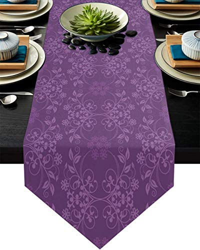 MODORSAN Camino de Mesa de 13 x 70 Pulgadas para Comedor, Rama púrpura Floral Vintage, Camino de Mesa de Lino de algodón, decoración para Boda, Cena, Cocina, hogar, Lavable a máquina, Elegante Flor