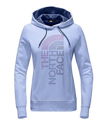 The North Face Womens Trivert Logo Pullover Hoodie Sweatshirt, Chambray Blue Heather/Coastal Fjord Blue Multi, Small