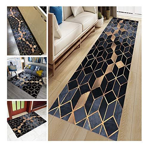 Alfombra de pasillo antideslizante insonorizada con mopa de 0,6 cm de grosor, suelo para escalera de entrada, cocina, pasillo, se puede cortar y lavable (negro, 80 x 200 cm)
