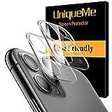 UniqueMe [2 Pack] Protector de Lente de cámara para iPhone 11 Pro/iPhone 11 Pro MAX Cristal Templado, Protector de Pantalla [9H Dureza ] [Sin Burbujas] HD Vidrio Templado