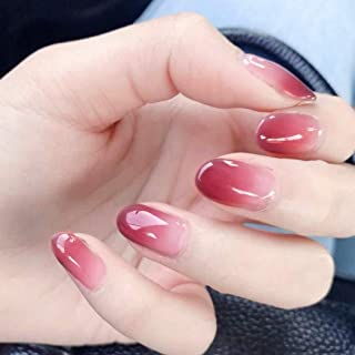 Sethexy Glossy Fake Nails Chic Gradient Oval Ins Style Full Cover Acrylic 24Pcs Wedding Short False Nails for Women and Girls (DeepPink)