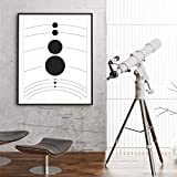 N / A Solar System Planet Poster Universe Canvas Painting Wall Art Black and White Decoration Children's Room Pictures Frameless 30x40 cm