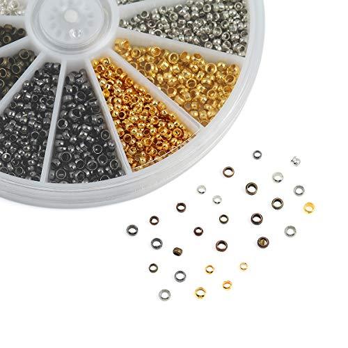 Obling 2160 Pièces Perle à Ecraser en Métal 2,5mm 2mm pour Bricolage de Bijoux Collier Bracelet