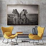 Pintura sin Marco Blanco y Negro león Africano Animal Salvaje Cartel e Impresiones Paisaje Lienzo Pintura Arte muralCGQ4777 20X40cm