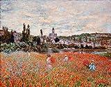 Kunstdruck/Poster: Claude Monet Mohnfeld bei Vetheuil - hochwertiger Druck, Bild, Kunstposter, 90x70 cm