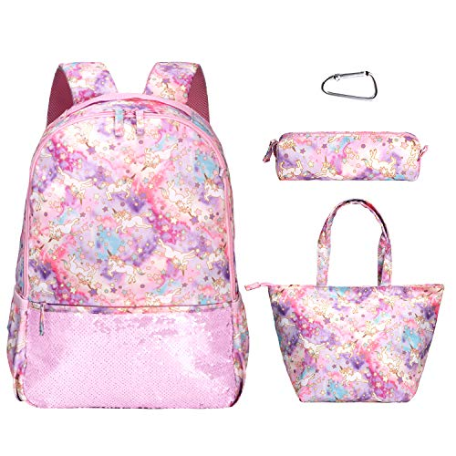 Girls Unicorn backpack Set With Lunch Bag, Pencil Case,Clip,Cute Stars School Backpack,Unicorn Gifts BookBags for Kids Teen Girls (Pink) 4 in 1