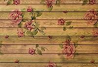 Qinunipoto 背景布 写真撮影用 背景 布 撮影 写真の背景 きのいた 木の板の背景 子供の写真 ポートレート写真の背景 赤い花 復古色の板の背景 写真館 写真スタジオ 撮影用道具 生放送 ポリエステル 洗濯可 2.1x1.5m