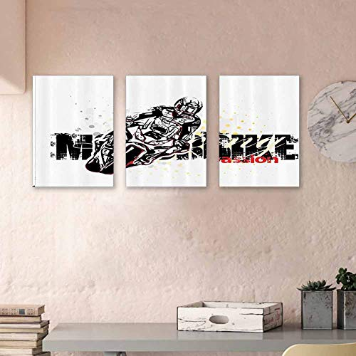 Motorcycle Decor Artwork Paintings Motorbike Illustration on Doted Grungy Background Super Bike Passion Silhouette Canvas Wall Art Prints Gifts Art Prints for Home Walls Decor 16'x24' x3 Pcs