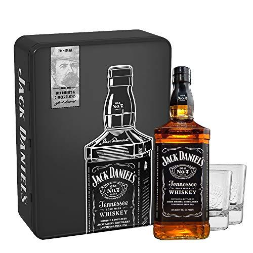 Jack Daniel's in Metallbox mit 2 Whiskygläser - Gift Box (1x 0,7 Liter)
