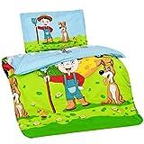 Aminata Kids Kinderbettwäsche 100x135 cm Bauernhof-Motiv Bauer, Farm-Tiere aus Baumwolle mit...