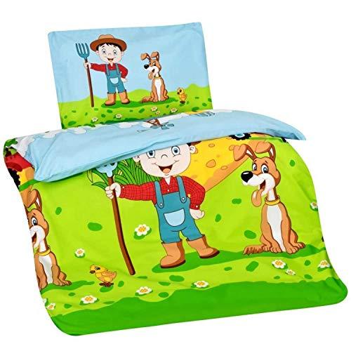 Aminata Kids Kinderbettwäsche 100x135 cm Bauernhof-Motiv Bauer, Farm-Tiere aus Baumwolle mit Reißverschluss, Baby-Kinder-Bettwäsche-Set mit Traktor-Motiv, Kuh, Hund, Farmer bunt, freundlich & weich