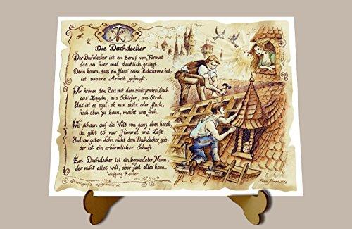 Die Staffelei Geschenk Dachdecker Zeichnung Color 20 x 15 cm mit Aufsteller
