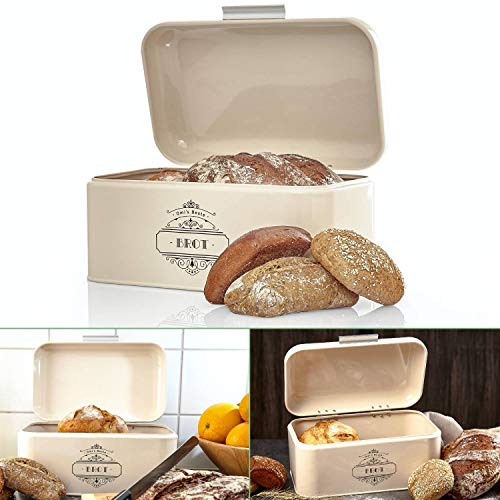 Omi's Beste Panera de metal I Caja de pan de alta calidad 30,5 x 18,5 x 14,8 cm I Almacenamiento para pan panecillos...
