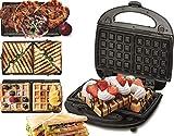 3 in 1 Sandwich Maker | Kontaktgrill | Waffeleisen | Sandwichmaker | Multigrill | Grill | 730 Watt | Thermostat | Edelstahlgehäuse | Antihaftbeschichtet | Betriebsampel