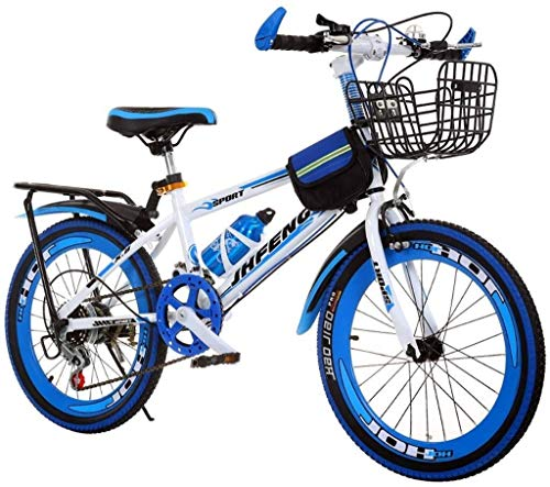 WHEEJE Carbon Steel Kids' Bikes Boy Bicycle Outdoor Mountain Bike Student Bicycle Outdoor Play Bicycle Travel Children Bicycle Mountain Speed Bicycle Suitable For Children's Bicycles (Color : Blue, Si