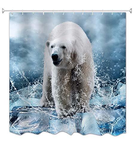 A.Monamour Weißes Eisbär EIS Wasser Spritzen Tier Liebhaber Themed Digitales Bild Drucken Polyester-Gewebe wasserdichte Duschvorhang Für Verschiedene Größen Badewannen 180X200 cm / 72
