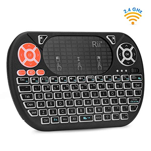 Mini Wireless Keyboard,Rii F8 Wireless 2.4G Keyboard with Touchpad Mouse Combo,IR Learning,Backlit Keyboard Controller for PC,Android TV Box,Linux,Windows