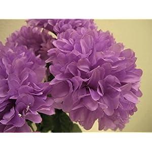 """Silk Flower Arrangements Chrysanthemum Mum Ball Bush 10 Artificial Silk Flowers 19"""" Bouquet 2302 Lavender"""