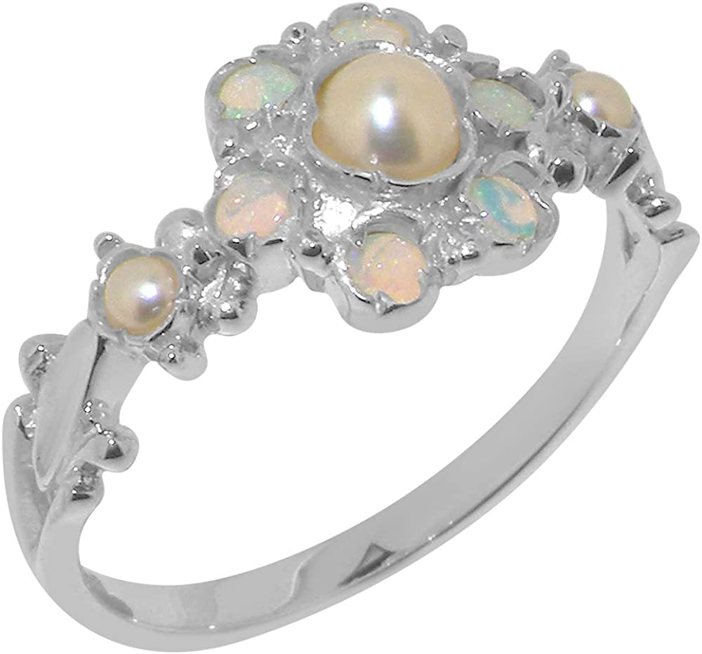 18k White Gold Cultured Pearl Opal low-pricing Womens Sizes 12 Finally popular brand Ring 4 to -