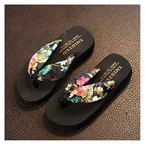 Youpin Sandalias de playa con plataforma de cuña y sandalias florales para mujeres y niñas (color negro, talla de zapato: 40)
