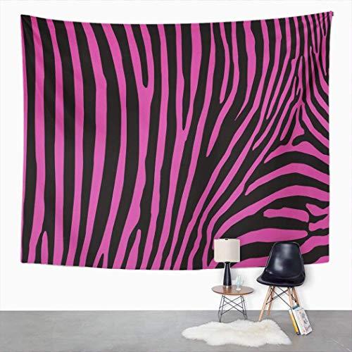Tapiz de animales, diseño abstracto de cebra rosa negro Afrika Home Dormitorio Decorativo Tapices grandes, manta ancha para colgar en la pared para sala de estar, dormitorio, 152,4 x 127 cm