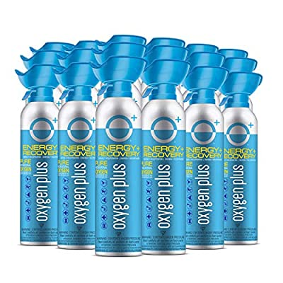 Oxygen Plus FDA-Registered Facility-Filled 99.5% Pure Recreational Oxygen Cans - O+ Biggi 18-Pack - Each Portable Oxygen Canister is 220+ Breaths, 11 litres - Restore Oxygen Levels w/Canned Oxygen
