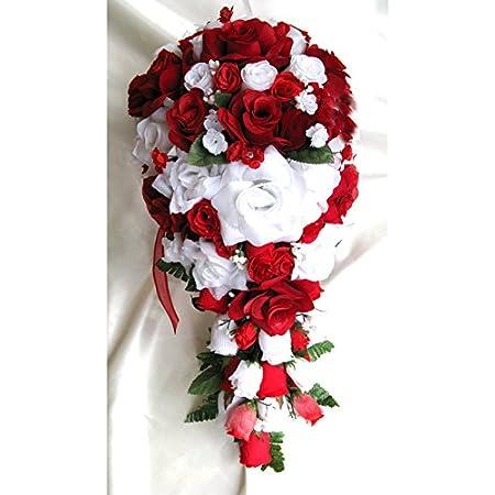 "Quality 18/"" Cascade Red Rose Artificial Faux Silk Flower Bouquet"