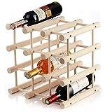 Botellero modular extensible de madera de haya de calidad para 12 botellas – Estante de almacenamiento de botellas resistente perfecto para cocina