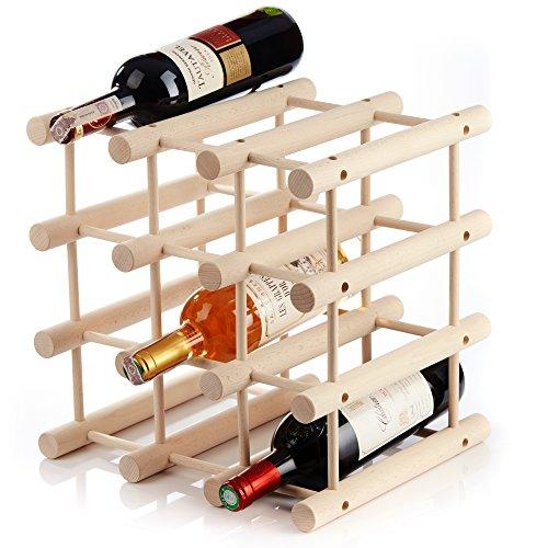 In legno autoportante controsoffitto cantinetta per 12bottiglie–modulare espandibile personalizzare come necessari–pratico per cucina o bar a casa Natural Wood