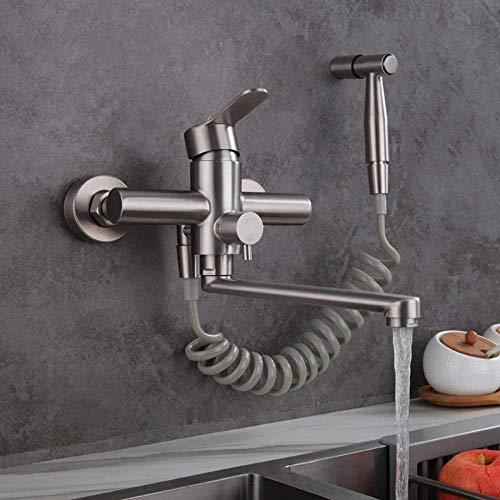 wasserhahn wandmontage, Wasserhahn Küche, Wandarmatur für Küche, mit Spritzpistole und 2 Wasserstrahlarten, schwenkbarem 360°-Auslauf,Edelstahl gebürstet, wasserhahn küche wandarmatur