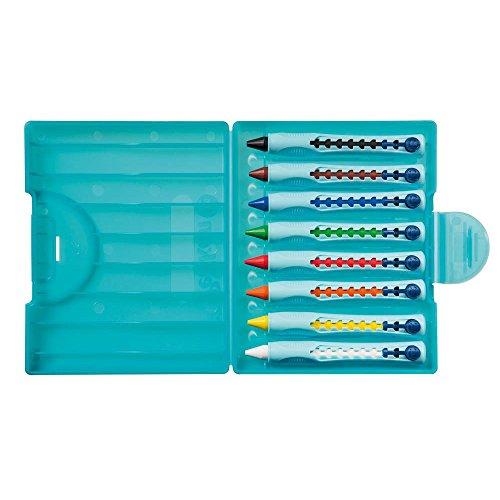 Pelikan W2/8 - 8 farbig sortierte Wachsschreiber mit Schiebehülse im Kunststoff-Etui, multifarbig