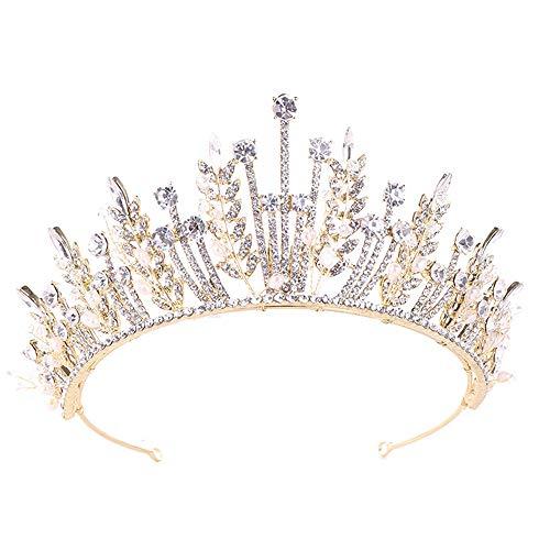 HXiaDyG Diademe strass tiara koningin kroon voor vrouwen, bruiloft, bruid, bruid, kroon, sieraad, haaraccessoires voor bruiloft, bruid, gala's