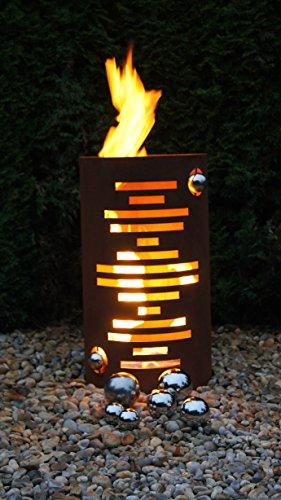 Feuertonne Modern Edelrost Säule Rost Feuerkorb Feuerschale
