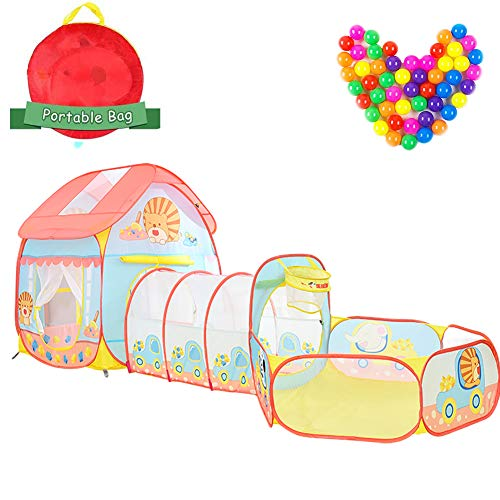3 in 1 Pop Up Children Play Tent House with Tunnel Basketball Pit and 100 Ocean Ball Kids Playhouse Gym Toddler Adventure Game for Indoor and Outdoor Great Gift for Girls Boys