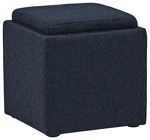 Marca Amazon -Rivet Ross - Otomana de tweed con tapa para almacenaje, 45,7 cm de ancho (azul vaquero)