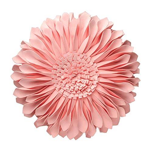 JWH Handmade 3D Flowers Accent Pillow Round Sunflower Cushion Decorative Sham with Pillow Insert Home Sofa Bed Living Room Decor Gift 12 Inch Cotton Canvas Solid Suede Pink