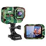 DZSWDTQ Wi-Fi Sports Waterproof Camera,4K HD Video 16MP Camera,170 Degree Wide Angle LCD Screen -Camouflage Green